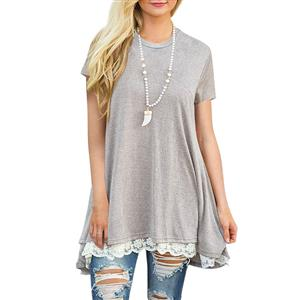 Elastic Gray T-Shirt Dresses, Cotton T-Shirt Dresses, Long Blouse Top, Sleeveless Top Mini Dress, Sexy Short sleeve Casual Shirt Dress, Lace Splicing Casual T-Shirt, #N16469