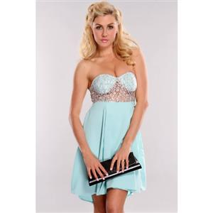 Lace Bodice Strapless Mini Dress, Bandeau Lace & Chiffon Dress, Turquoise Off The Shoulder Cocktail Dress, #N8794