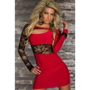 Personalized Sexy Dress Red, Lace and Knit Dress Red, Red Party Dress, #N5640