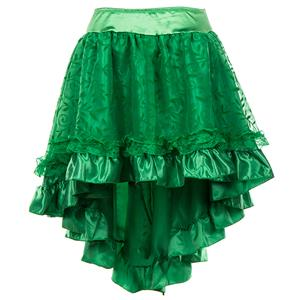 Elegance Lace and Satin Skirt, Green High Low Skirt, Lace and Satin High Low Skirt, Green Vintage Skirts, Gothic Style Skirts, Asymmetrical Skirts, #HG15786