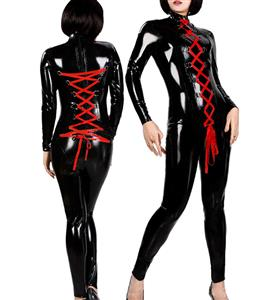 Sexy String Lace Up Faux Leather Catsuit, Lace up Front and Back Jumpsuit, Red Strappy Black Catsuit, #N8505