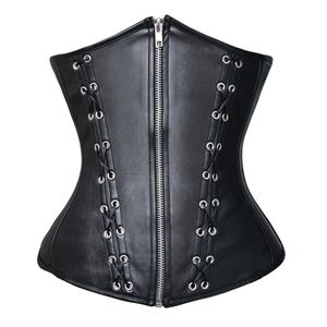 Leather underbust Corset, Black Lace Up Size Corset, Zip Front Underbust Corset, #N6550