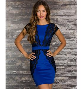 Blue and Black Lace Bodycon Cocktail Dress, V-Back Stretchy Black Lace Trim Dress, Waistband Lace Slim Mini Dress, #N8419