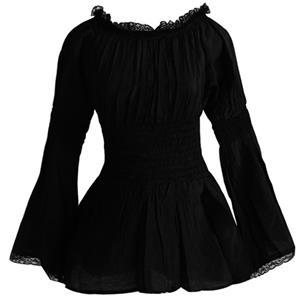 Elastic Black Shirt, Cotton Shirt, Baby Doll Shirt, Lace Blouse, Crop Top, #N11849