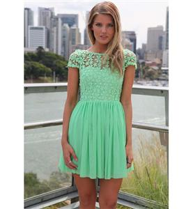 Green Back Low V-neck Dress, High-waist Lace Chiffon Short Sleeves Dress, Lace Split Joint Chiffon Zipper Dress, #N9325