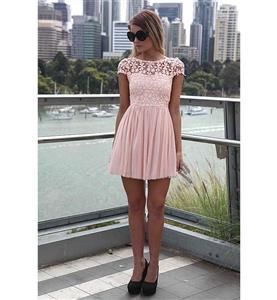 Pink Back Low V-neck Dress, High-waist Lace Chiffon Short Sleeves Dress, Lace Split Joint Chiffon Zipper Dress, #N9324