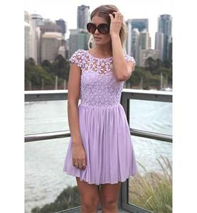 Purple Back Low V-neck Dress, High-waist Lace Chiffon Short Sleeves Dress, Lace Split Joint Chiffon Zipper Dress, #N9326