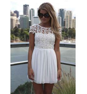 White Back Low V-neck Dress, High-waist Lace Chiffon Short Sleeves Dress, Lace Split Joint Chiffon Zipper Dress, #N9323