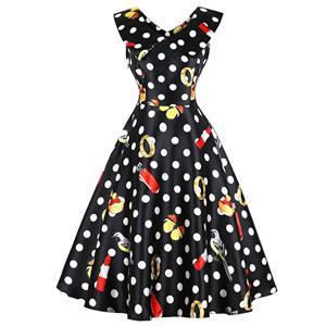Vintage Lapel Sleeveless Midi Dress, Retro Sleeveless Polka Dot Swing Dress, Classical Sleeveless Printed Midi Dress, Women