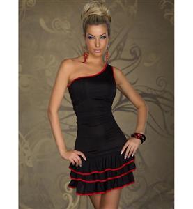 Black Latino Dress, Sexy Layer One-Shoulder Dress, Black Latino Dress with Red Trim, #N7867
