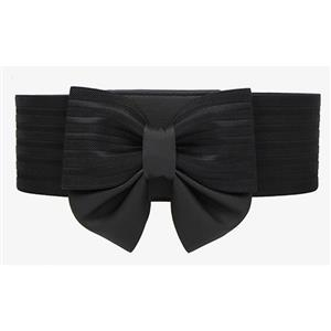 Bowknot Wasit Belt, High Waist Cinch Belt, Black Elastic Wasit Belt, Wide Waist Cincher Belt Black, Faux Leather Wide Waistband Cinch Belt, Elastic Waist Belt for Women, #N18251