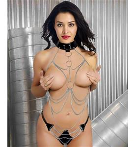 Dew Chest Metal Sexy Set, Open Bust Body Metal Chain Black Leather Set, Chain with Leather Collar and Thong, #N8475