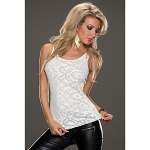 White Round Neck Tank Style Vest, Leather and Lace Top, Sleeveless Double-layered Underwaist, #N8878