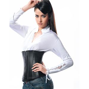 Faux Leather Underbust Corset  N2409