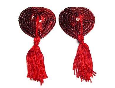 Tassle Pasties Set, red Heart Pasties, red Heart Pasties, #MS7160