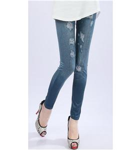 Blue Faux Jeans, Look Blue Fashion Pants,  Look Blue Leggings, #L5274