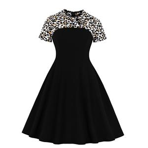 Sexy Leopard Print A-line Swing Dress, Retro Dresses for Women 1960, Vintage Dresses 1950
