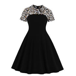 Sexy Leopard Print A-line Swing Dress, Retro Dresses for Women 1960, Vintage Dresses 1950