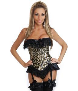 Leopard corset, Burlesque Corset, lace-up back Corset, #M3157