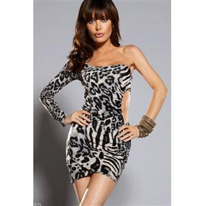 Leopard One Shoulder Dress, Cut Out Sexy Party Dress, Cut Out Leopard Dress, #N5322