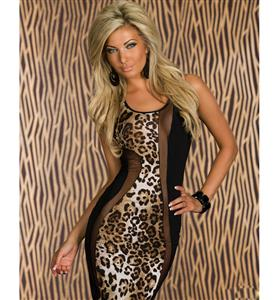 Leopard Print Black Mesh Inset Dress, Mesh Patchwork Midi Dress, Leopard Printed Midi Dress, #N7669