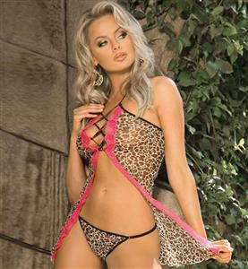 Mesh and Lace Lace Up Babydoll, Leopard Print Babydoll, Open-Front Halter Babydoll, #N8653