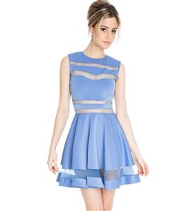 Mesh Panel Club Skater Dress, Mesh Insert Skater Dress, Translucent Sleeveless Clubwear, #N7662