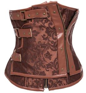 Steampunk Brown Brocade Double Zipper Steel Boned Underbust Corset N9559