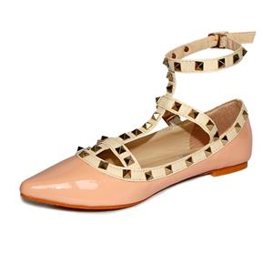 Openwork Design Flat Shoes, Studded Spike Flat Shoes, T-Strap Rivets Pointed Toe Shoes, #SWS12132