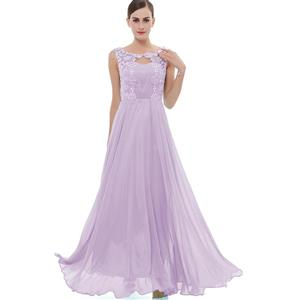Sleeveless Round Neck Dress, Purple Beaded Appliques Maxi Dress, Appliques Chiffon Long Dress, Women