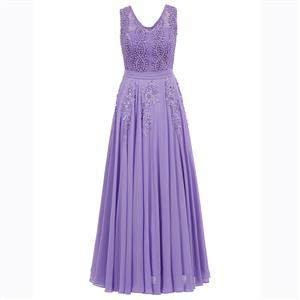 Purple Sleeveless V Neck Dress, Pearl Beading Maxi Dress, Purple Appliques Long Dress, Women