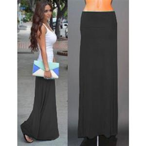 Women Floor Length Skirt, Maxi Skirt, Fold-over Waist Skirt, Modal Solid Flared Maxi Skirt, Super Soft Maxi Skirt, Knit Skirt, #N12869