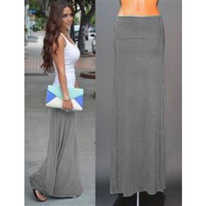 Women Floor Length Skirt, Maxi Skirt, Fold-over Waist Skirt, Modal Solid Flared Maxi Skirt, Super Soft Maxi Skirt, Knit Skirt, #N12875
