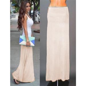 Women Floor Length Skirt, Maxi Skirt, Fold-over Waist Skirt, Modal Solid Flared Maxi Skirt, Super Soft Maxi Skirt, Knit Skirt, #N12874