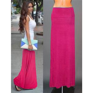 Women Floor Length Skirt, Maxi Skirt, Fold-over Waist Skirt, Modal Solid Flared Maxi Skirt, Super Soft Maxi Skirt, Knit Skirt, #N12876