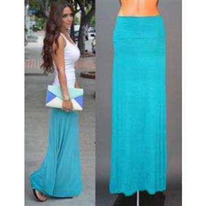 Women Floor Length Skirt, Maxi Skirt, Fold-over Waist Skirt, Modal Solid Flared Maxi Skirt, Super Soft Maxi Skirt, Knit Skirt, #N12878