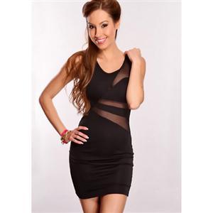 Sleeveless Plunge Dress, Little Black Dress, Mini Dress, #N5671