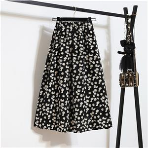 Fashion Long A-Line Skirt, Sexy High Waist Flared Skirt for Women, Fashion Little Daisy Print Flared Long Skirt, Casual Little Daisy Print A-Line Skirt, Retro Casual Printed A-Line Skirts, #N21053