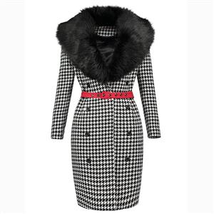 Long Sleeve Printed Dress, Faux Fur Collar Dress, Houndstooth Print Bodycon Dress, Double-Breasted Bodycon Dress, Fashion Dress for Women, Midi Printed Bodycon Dress, #N15806