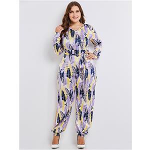 Long Sleeve Jumpsuit Plus Size, V Neck Jumpsuit for Women, Full Length Jumpsuit, Plus Size Jumpsuit for Women, Feather Print Jumpsuit, Lace-up Jumpsuit, High Slit Jumpsuit, #N15353
