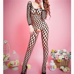 Sexy Womens Bodysuit Lingerie, Black Hollow Out Fishnet Bodystocking, Long Sleeve Mesh Bodystocking Lingerie, Hollow Out Mesh Bodysuit Lingerie, Open Crotch Fishnet Bodystocking, Sexy Crotchless Bodystocking Lingerie, #BS16707