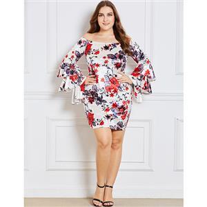 Long Sleeve Dress, Plus Size Dress for Women, Off Shoulder Dress, Pullover Dress for Women, Bodycon Dress Plus Size, Floral Print Dress, Mini Dress Plus Size, #N15351