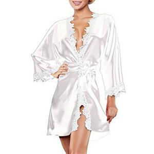 White Satin Lace Trim Robe, Silk Lightweight Sleepwear Robe, Sexy Sleepwear Robe White, Satin Bathrobe Nightgown, Long Sleeve White Bathrobe, Long Sleeve Nightgown for Women, #N17151