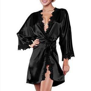 Black Satin Lace Trim Robe, Silk Lightweight Sleepwear Robe, Sexy Sleepwear Robe Black, Satin Bathrobe Nightgown, Long Sleeve Black Bathrobe, Long Sleeve Nightgown for Women, #N17152