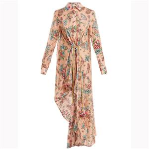 Vintage Long Sleeve Lapel Maxi Dress, Casual Floral Printed Beach Dress, Casual Holiday Printed Maxi Dress, Women