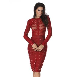 Club Dress For Women, Sexy Dresses For Women, Studded Bandage Dresses, Bandage Bodycon Party Dress, Red Bandage Dress, Sexy Bandage Party Dress, #N15134
