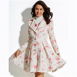 Long Sleeve Dress, Notched Lapel Coat, Single-Breasted Coat, Floral Print Dress, Coat Dress for Women, Elegant Dresses for Women, Mini Coat Dress, #N15557