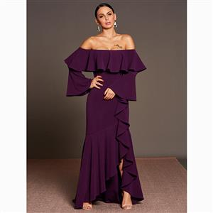 Long Sleeve Dress, Off Shoulder Dress, Asymmetric Dress, Flare Sleeve Dress, Maxi Dress, Falbala Dress, Elegant Dresses for Women, Solid Color Dresses, #N15579