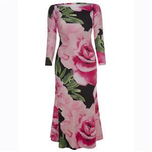 Long Sleeve Dress, Off Shoulder Dress, Plus Size Dress, Floral Print Dress,  Floral Maxi Dress, Slim Fit Dress, Bodycon Dress, Elegant Dresses for Women, #N15619