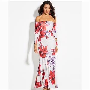 Long Sleeve Dress, Flower Print Dress, Off Shoulder Dress, Maxi Dress, Elegant Dresses for Women, Slit Dress Long, Backless Dress, Fashion Dresses for Women, #N15568
